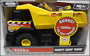 2003 Mighty Dump With 2 Diecast Trucks Packaging